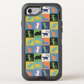 Capa Para iPhone 8/7 OtterBox Defender Quadrados da edredão da silhueta do gato em cores
