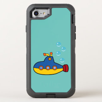Capa Para iPhone 8/7 OtterBox Defender Submarino amarelo e azul do brinquedo com bolhas