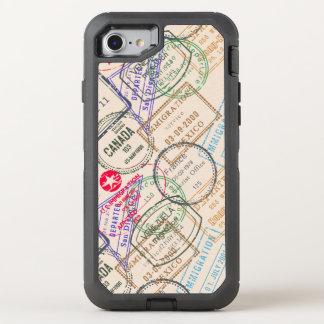 Capa Para iPhone 8/7 OtterBox Defender Viagem dos selos do passaporte temático