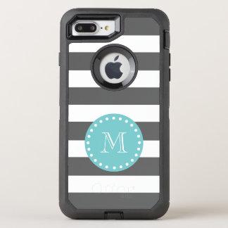 Capa Para iPhone 8 Plus/7 Plus OtterBox Defender O branco cinzento de carvão vegetal listra o teste
