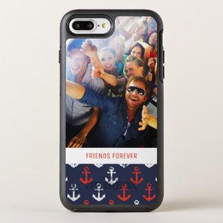 Capa Para iPhone 8 Plus/7 Plus OtterBox Symmetry Teste padrão branco e azul vermelho | seus foto &