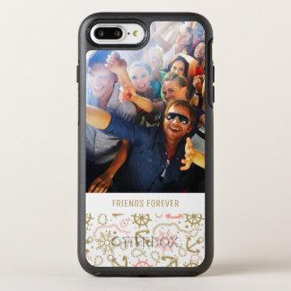Capa Para iPhone 8 Plus/7 Plus OtterBox Symmetry Teste padrão dourado | da âncora seus foto & texto