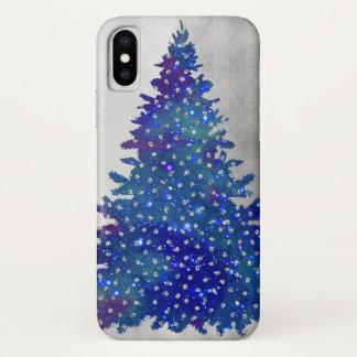 Capa Para iPhone X Árvore de Natal azul e roxa da aguarela