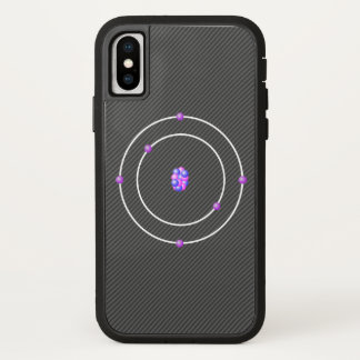 Capa Para iPhone X Átomo de carbono com fundo da fibra do carbono