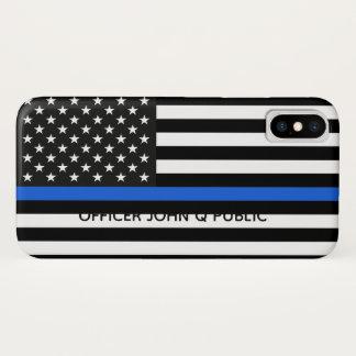 Capa Para iPhone X Bandeira americana fina de Blue Line com nome