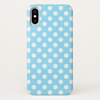 Capa Para iPhone X Bolinhas brancas em azul pálido