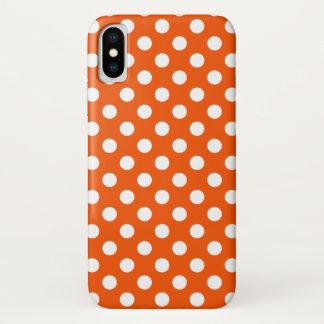 Capa Para iPhone X Bolinhas brancas na laranja