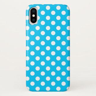 Capa Para iPhone X Bolinhas brancas no azul elétrico