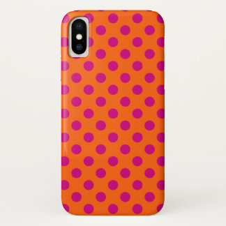 Capa Para iPhone X Bolinhas fúcsia na laranja