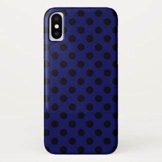 Capa Para iPhone X Bolinhas pretas em azuis marinhos