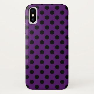 Capa Para iPhone X Bolinhas pretas no roxo da ameixa