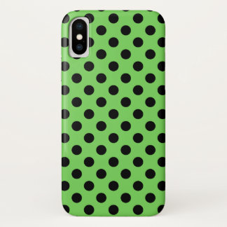 Capa Para iPhone X Bolinhas pretas no verde limão