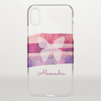 Capa Para iPhone X Borboleta da aguarela do Mulberry personalizada