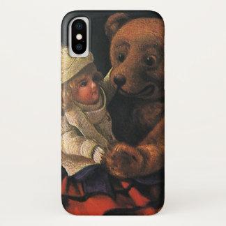 Capa Para iPhone X Brinquedos do natal vintage, boneca e um urso de