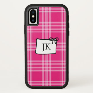 Capa Para iPhone X Caixa cor-de-rosa e preta Monogrammed da pilha da