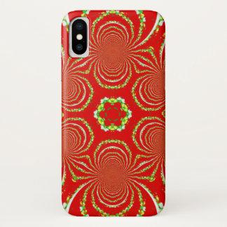 Capa Para iPhone X Caleidoscópio vermelho e branco