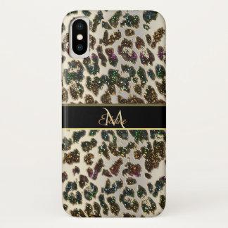 Capa Para iPhone X Caso do iPhone X do leopardo do brilho do