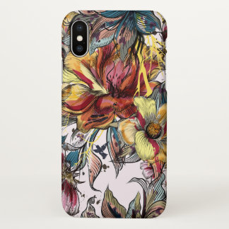 Capa Para iPhone X Caso lustroso do iPhone X floral da aguarela