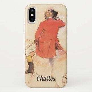 Capa Para iPhone X Cavaleiro em um casaco vermelho por Edgar Degas