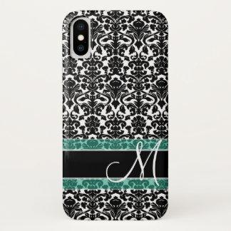 Capa Para iPhone X Cor damasco preto e branco com monograma