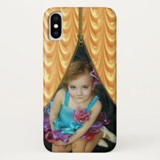 Capa Para iPhone X Cortina do ouro do modelo da foto do Zipper