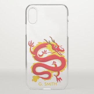 Capa Para iPhone X Dragão do chinês tradicional. Adicione seu nome