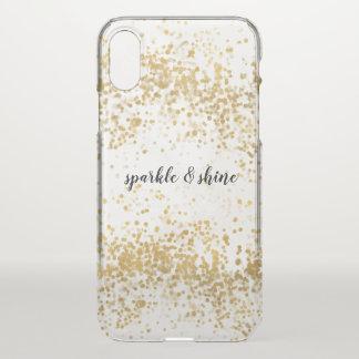 Capa Para iPhone X Faísca dos confetes do ouro branco