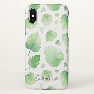 Capa Para iPhone X Folhas do verde da aguarela. Adicione o nome ou o