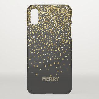 Capa Para iPhone X Fundo do preto dos confetes do ouro