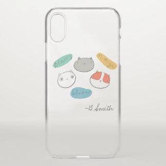 Capa Para iPhone X Gatos dispersos do Doodle. Adicione o nome