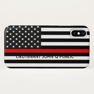 Capa Para iPhone X Linha vermelha fina bandeira americana