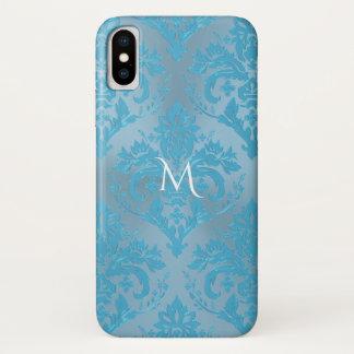 Capa Para iPhone X Luz - caixa azul do iPhone X do monograma do