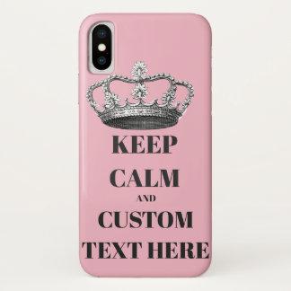 Capa Para iPhone X Mantenha a calma e continue o texto personalizado