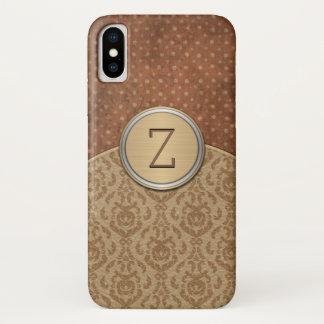 Capa Para iPhone X Monograma elegante da laranja de Brown