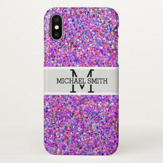 Capa Para iPhone X Monograma multicolorido da pintura do brilho do