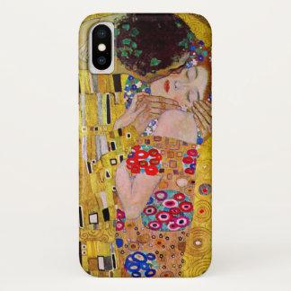 Capa Para iPhone X O beijo por Gustavo Klimt, arte Nouveau do vintage