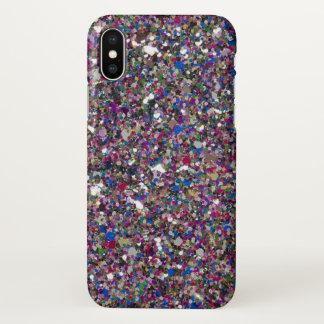 Capa Para iPhone X O brilho cor-de-rosa roxo Sparkles bonito