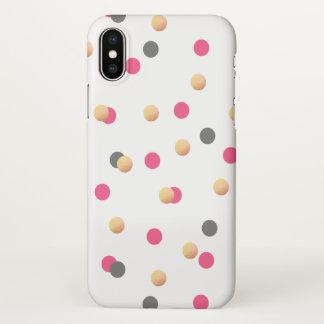 Capa Para iPhone X o confete cor-de-rosa cinzento do ouro elegante do