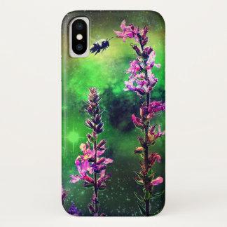 Capa Para iPhone X O rosa floresce a abelha de N contra o mundo