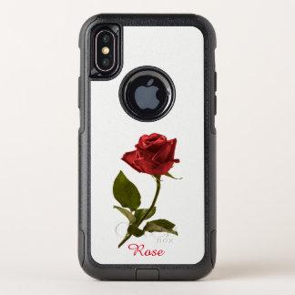 Capa Para iPhone X OtterBox Commuter Flor cortada da rosa vermelha fotografia floral