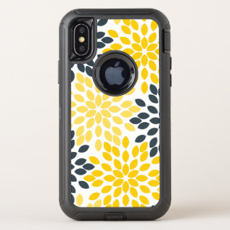 Capa Para iPhone X OtterBox Defender Floral moderno do carvão vegetal amarelo e