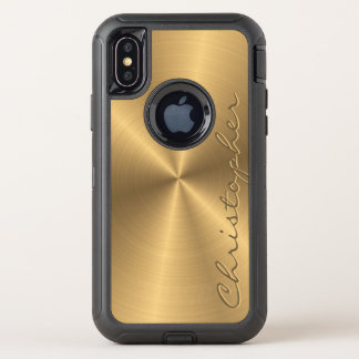 Capa Para iPhone X OtterBox Defender Radial metálico personalizado do ouro de aço