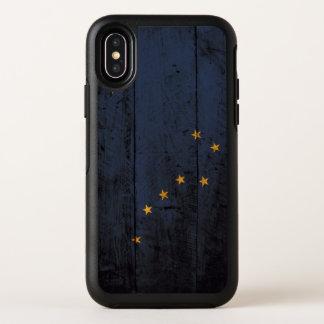 Capa Para iPhone X OtterBox Symmetry Bandeira do estado de Alaska na grão de madeira