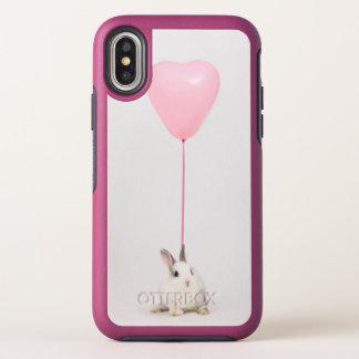 Capa Para iPhone X OtterBox Symmetry Coelho com balão cor-de-rosa