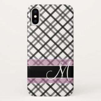 Capa Para iPhone X Teste padrão da xadrez com monograma - rosa branco