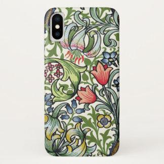 Capa Para iPhone X Teste padrão floral de chintz do lírio dourado de