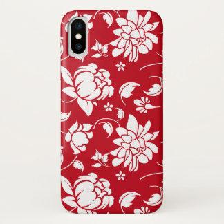 Capa Para iPhone X Teste padrão floral vermelho & branco dos damascos