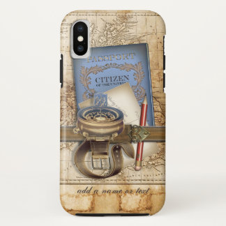 Capa Para iPhone X Viajante engraçado de Steampunk