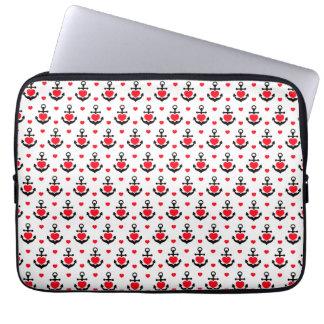 Capa Para Laptop Âncoras e teste padrão marinhos românticos dos