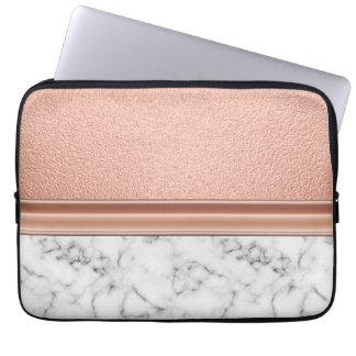 Capa Para Laptop Folha de ouro cor-de-rosa no mármore